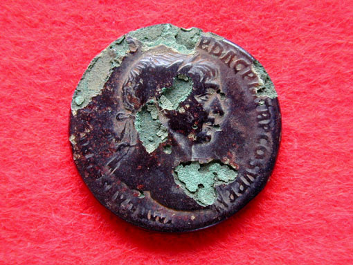 Roman coin with 'bronze disease'